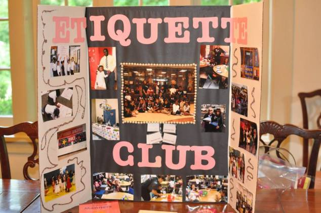 Lit's display board for the newly installed Etiquette Club - a project she founded with funds received  for an Innovative Teaching Grant in 2013/2014.