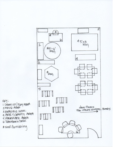 Floor Plan for the newly designed Pre-K room, courtesy of Haley Davis, of Haley Davis Interiors