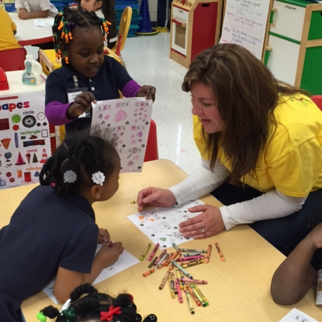 JLM Member and G.R.O.W. volunteer, Mandy Lamey interacting with Brewster students.